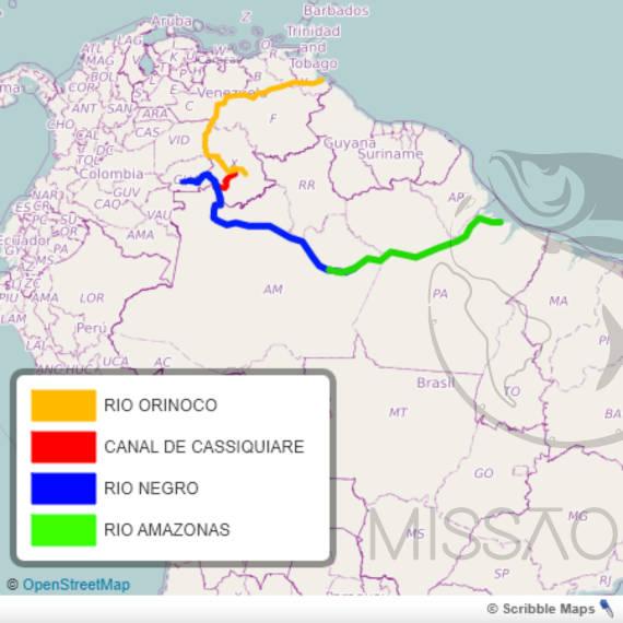 canal de cassiquiare lugar de pesca na Amazônia